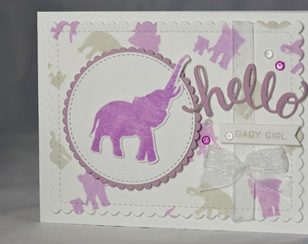 Handmade Welcome Baby Card, Hand stamped, Embossed, Elephant Card, Baby Card