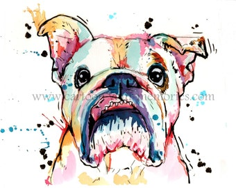 Bulldog watercolor art print