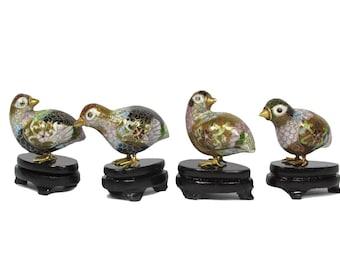 Set of 4 birds in cloisonné