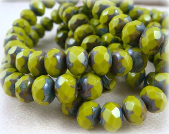 Green Picasso Beads, Czech Beads, 8x6mm Rondelle, Czech Glass Beads, Avocado Green Rondelle, Chartreuse Rondelles (R8/N-0710L) - Qty 12