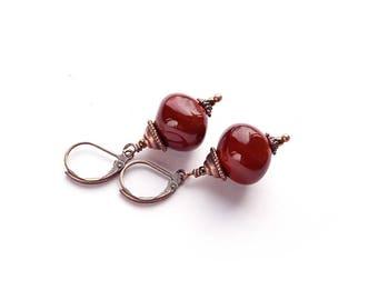 Lampwork Earrings, Little Brown Earrings, Handmade Glass Earrings, Beadwork Earrings, Boho jewelry Boho chick, office jewelry, Autumn Colors