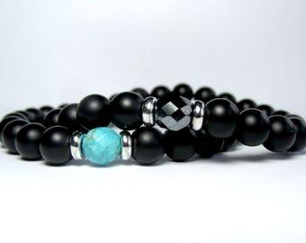 Set of 2 Bracelets, Beaded Bracelet Set, Mens Onyx Bracelet, Bracelet for Men, Bracelet Stack, Gemstone Bracelet. Stretch Bracelet