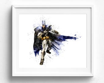 Batman Wall Art, Batman Wall Decor, Batman Watercolor, Superhero Art,  Superhero Wall Art, Superhero Room Decor Superhero Watercolor Wall Art