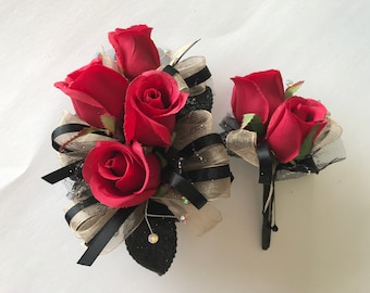 Champagne Black Red Rose Corsage Set (artificial flowers )