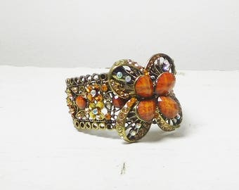 Large Chunky Huge Beaded Antiqued Brass Bracelet Cuff Bohemian Gypsy Rhinestones Dimensional Flower Hinged Boho Hippie Junk Jewelry
