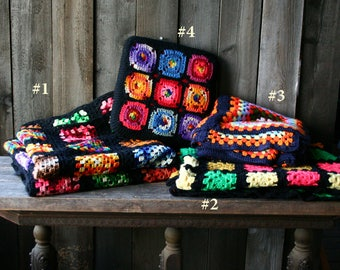 Crochet Granny Square Blankets Afghan Quilts Hand Made Vintage 60s From Nowvintage on Etsy