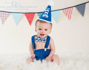 Boy Cake Smash Outfit, Boy Girl Twin Cake Smash, Boy Cake Smash, Boy 1st Birthday Set, 1st Birthday, 1st Birthday, Blue and White Chevron