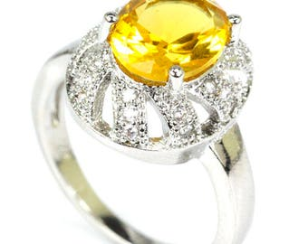 Sterling Silver Golden Citrine Gemstone Ring With AAA CZ Accents Size-6.5