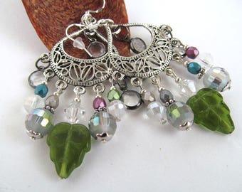 Winter Frost Chandelier Earrings, Dangle Earrings, Winter Jewelry, Fancy Earrings, Beaded Earrings, Glass Bead Earrings, Moonlilydesigns