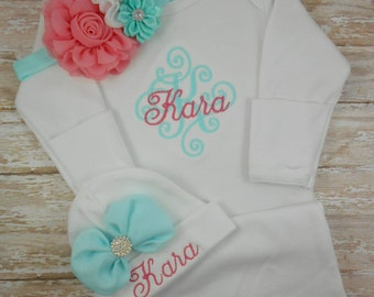 Baby girl coming home outfit, Personalized baby gown, hat, monogram, name, bring home outfit, hospital gown, newborn baby girl outfit, set