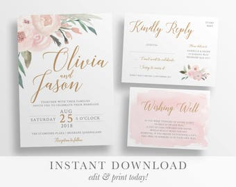 Wedding invitation template etsy wedding invitation template printable rustic wedding invitation watercolour floral wedding templett instant download stopboris Images