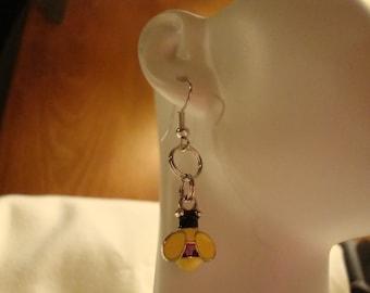 bee earrings, bee charm earrings, earrings, yellow earrings, bee decor, bee costume jewelry, bee pierced earrings, small bee earrings, (502)