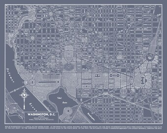 Washington DC Street Map Vintage Gray Map Print Poster