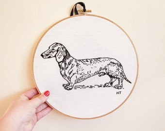 Modern Hand Embroidered Dachshund Dog Sausage Dog Weiner Hoop Art/Wall Hanging