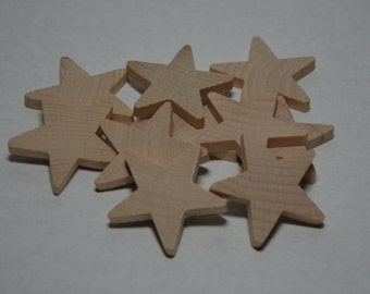 """1-1/2"""" Wood Star - Set of 10 Unfinished Wood Stars - 3/16"""" Thick Wooden Stars"""