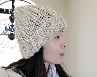 Chunky Knit Beanie - Ribbed Beanie - Beige | white beanie - Knit winter hat