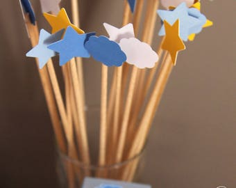 Deco Pic - stars & clouds - baptism Theme Topper set