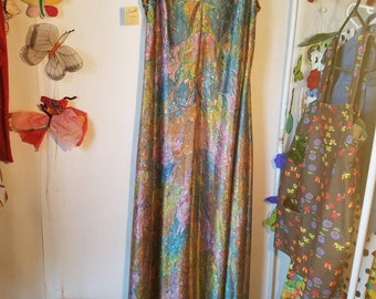 Flash Sale! Rock your Prom! Deadstock Vintage 60s/70s Pastel & Gold Marbled Swirl Empire Waist Sleeveless Maxi Dress L/XL