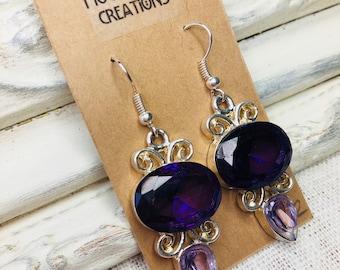 Amethyst Purple Glass Silver Earrings