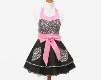Plus Pink & Black Retro Apron, Plus Pink Floral Apron, Plus Black and Pink Apron, Plus Pink Floral Retro Apron, X-Large Retro Apron Floral