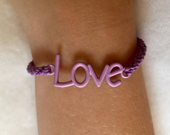 Handwoven purple love bracelet