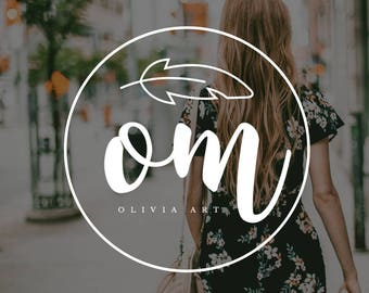 Premade Logo, Feminine logo , Logo Design, Brand Design, Business Logo, photography logo, Watercolor logo, calligraphy logo , flower logo