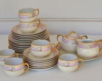 Tea Set, Luncheon Set, Hand Painted Luncheon Set, Made in Japan, Seito Studios