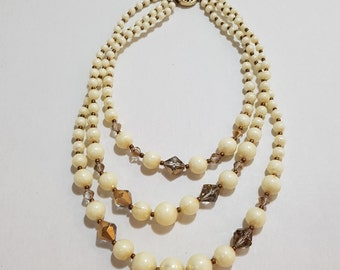 Vintage Mid-Century 3 Strand Iridescent Faux Perl and Bead Necklace