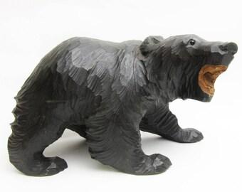 Vintage Wood Carving.Ainu Bear.Japanese Folk Art.Wood Craft.#kk2.msjapan