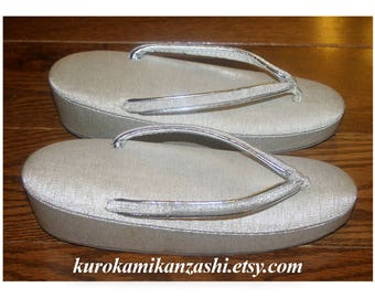 Sleek Silver - Vintage Japanese Decorative Zori Sandals Formal for Women