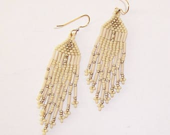 Beaded Earrings, Boho Earrings, Ivory Earrings, Dangle Earrings, Seed Bead Earrings