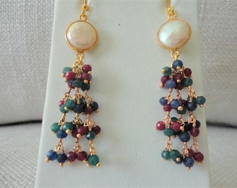 Ruby, sapphire, emerald, cluster pearl and gemstone earring, statement earring, precious stone earring, Pearl Chandelier Earring in Gold