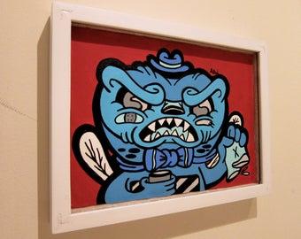 Mr. Grumbles urban cartoon art, acrylic painting
