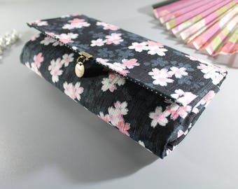 "8.3"" long wallet - business card holder - Black white pink - Manami"