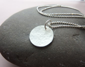 Simple Hammered sterling silver Disk Pendant. Minimalist Necklace