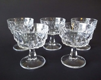 Arcoroc Artic Champagne Coupe  / Tall Sherbet Glasses, Set of 5, France 1970s-1980s