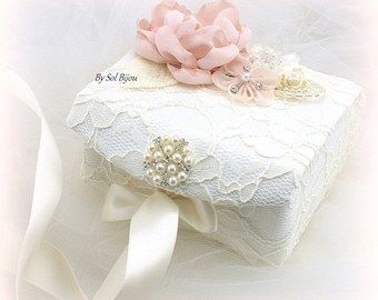 Wedding Ring Box, Ivory, Blush, Pink, Alternative Pillow, Jewelry Box, Ring Box, Vintage Style, Elegant Wedding, Lace Box, Pearls, Crystals