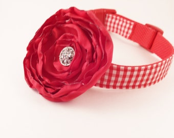 Red  Gingham Dog Collar and  Flower Set, Adjustable Sizes for small dogs to Extra large dogs Handmade