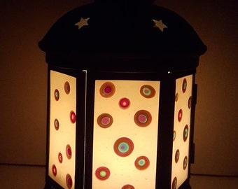 Fused Glass Lantern - Rainbow Polkadots