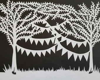 Bunting and trees papercut