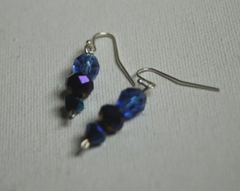 Blue and Purple Dangle Earrings
