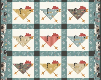 Running Chickens wall quilt / table runner / placemats pattern