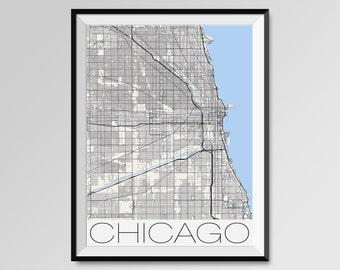 CHICAGO Map Print, Modern City Poster, Black and White Minimal Wall Art for the Home Decor