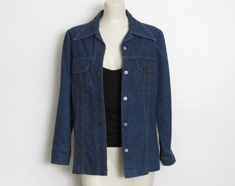 Lee Jean Jacket / Dark Blue Denim Snap Front / Women's Vintage 1970s Ms. Lee Shirt Jacket