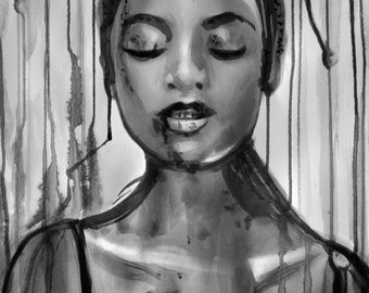 Watercolor painting, African girl portrait, Black Girl from Lisbon, FINE ART PRINT sumi-e ink painting, Wall art, Home decor, Alex Solodov