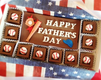 Chocolate Fathers Day Baseball Gift - Happy Father's Day Baseball Chocolate Squares - Unique Gift for Dad - Fathers Day Gift