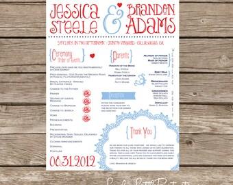 Vintage Flyer Wedding Program- DIY Printable - Lovely Little Party - You Choose Color