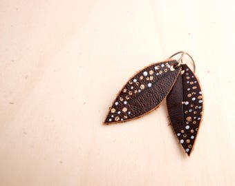 Mini Dark Brown, Silver and Gold Hand-painted Reclaimed Leather Leaf Earrings