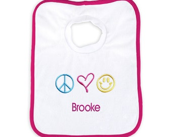Personalized Baby Girl Bib with Peace, Love, Happiness