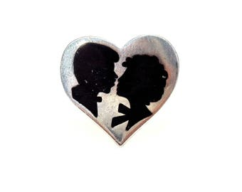 Sterling Silver Kissing Couple Heart Ring